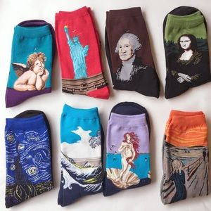 New! Retro Art Oil Painting unisex socks set.